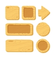 set of cartoon wooden game assets vector image