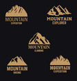 Set of mountain icons in golden style isolated on