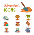 set of tropical adventure game icons templates vector image