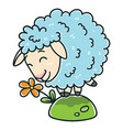sheep with a flower vector image vector image