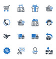 Shopping and E-commerce Icons Set 1 - Blue Series vector image vector image