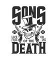 skull with guns t-shirt print mockup vector image vector image