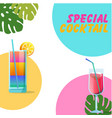 special cocktail two glasses of cocktail backgroun vector image vector image