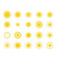 sun silhouette icon set summer circle shape heat vector image vector image