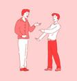 talking people coworker friend meeting break time vector image