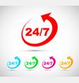 twenty four seven icon set vector image vector image