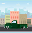 vintage color car on city background vector image vector image