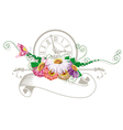 Vintage ribbon with flowers and clock vector image vector image