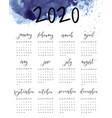 watercolor ink calendar template 2020 year vector image vector image