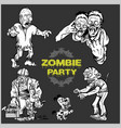 zombie comic set - cartoon zombie vector image vector image