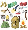 camping outdoor travel equipment cartoon style vector image