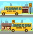 School pupils waiting for schoolbus vector image
