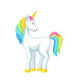 fantasy pretty white unicorn with colorful mane vector image