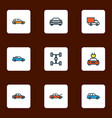 auto icons colored line set with sport car vector image vector image
