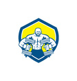 Bodybuilder Lifting Dumbbell Shield Retro vector image vector image