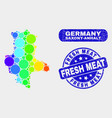 bright mosaic saxony-anhalt land map and grunge vector image vector image