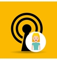 cartoon girl wireless internet design vector image vector image