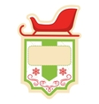 Christmas Label Icon Flat Frame with Sledge on vector image vector image
