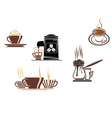 coffee and tea symbols and icons vector image vector image
