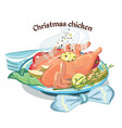 colored sketch christmas fried chicken template vector image vector image