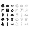 country greece blackoutline icons in set vector image