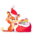 cute tiger in in christmas hat with gift sack vector image