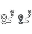 destination line and glyph icon gps and location vector image