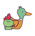 duck and frog farm cartoon animal vector image vector image