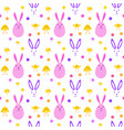 easter cute seamless pattern with yellow chicken vector image vector image