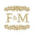 f and m vintage initials logo symbol vector image vector image