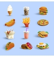 Fastfood Icons Cartoon Set vector image vector image