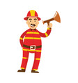 fireman in protection uniform loudspeaker vector image vector image