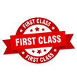 first class ribbon first class round red sign vector image vector image