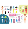 flat woman character creation infographic concept vector image
