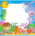 frame with underwater animals 2 vector image vector image