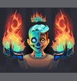 ghost boy with fire in his hands vector image
