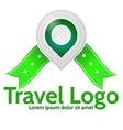 Green geolocation marker emblem for travel vector image vector image