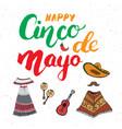 happy cinco de mayo greeting card hand lettering vector image vector image