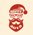 happy new year stamp sticker set with santa claus vector image vector image