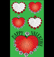 heart and roses textured Valentine design vector image vector image