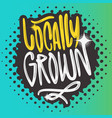 locally grown hand drawn brush lettering vector image