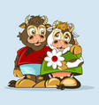 lovers bull and cow are drawn in animation style vector image