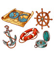 marine anchor nautical sailing equipment sketch vector image