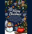 merry christmas greeting card santa gifts vector image
