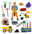 miner mine worker builder character in vector image