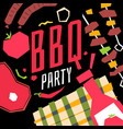 modern poster bbq party with a checkered vector image vector image