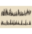 Mountains Contours Fir Forest Engraving vector image vector image