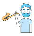 music man cartoon vector image