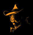 old man with cowboy hat and with mustache digital vector image vector image