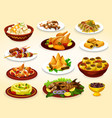 ramadan dishes of grilled meat fish and desserts vector image